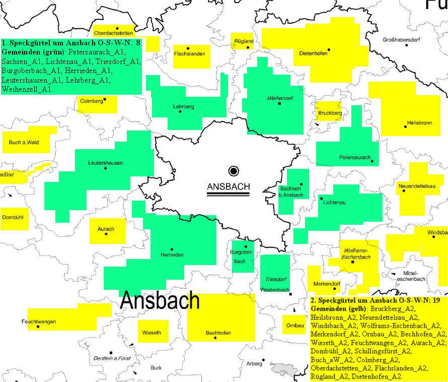 Mittelfranken Karte.Speckgürtelgemeinden Mittelfranken